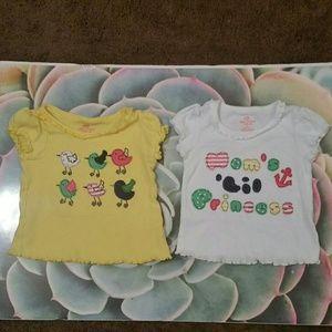 2 Okie Dokie shirts, birds&mom's lil princess, 2T